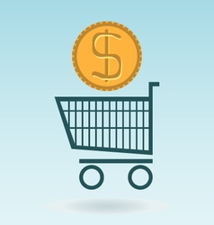 Shopping chart with dolar coin vector