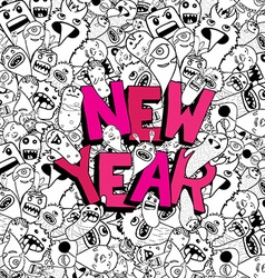 new year doodle hipster background vector image