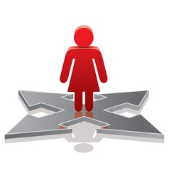 Woman making a choice on crossroads vector