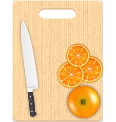 Orange slices and knife on the chopping board vector