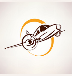 airplane symbol light aircraft stylized icon vector image