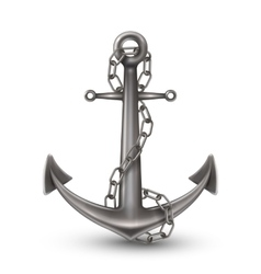 Anchor With Chain Realistic Style vector image