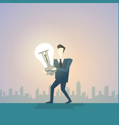 Business man new creative idea concept hold light vector