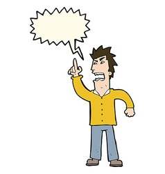 cartoon angry man making point with speech bubble vector image vector image