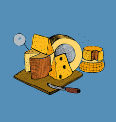 cheese types composition on blue background vector image