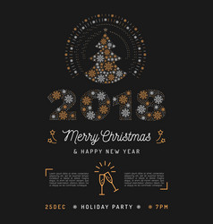 Christmas party poster and new year 2018 card vector