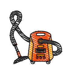 Color crayon stripe cartoon vacuum cleaner vector