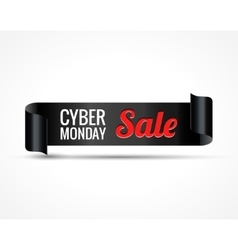 Cyber sale Black realistic curved paper ribbon vector image