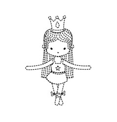 Dotted shape girl practice ballet with profesional vector