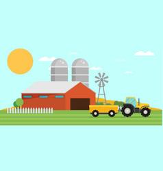 flat design crop farm rural landscape background vector image