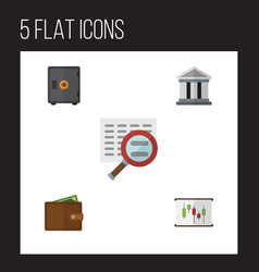 Flat icon gain set of diagram strongbox scan and vector