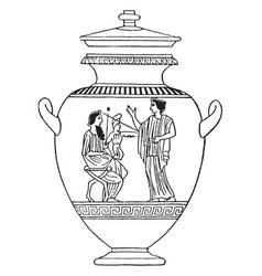 Greek vase is a idealized depictions of the human vector