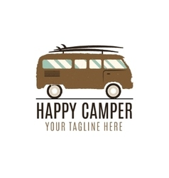Happy camper logo design Vintage bus vector image