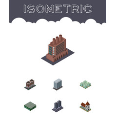 Isometric urban set of house warehouse office vector