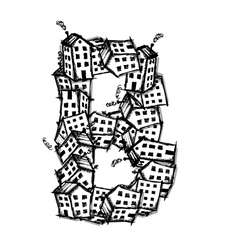 Letter b made from houses alphabet design vector