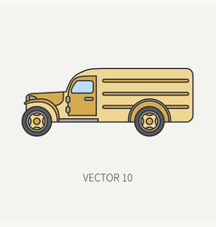 Line flat color icon service staff army van vector