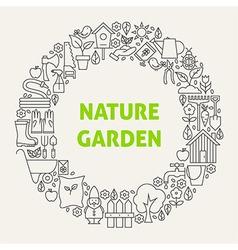 Nature Garden Line Art Icons Set Circle vector image vector image
