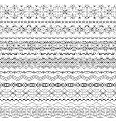 Ornate seamless borders in eastern style line art vector