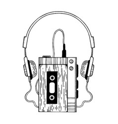 Portable audio cassette player engraving vector