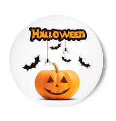 pumpkin smiling halloween white sticker vector image vector image