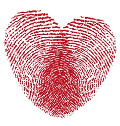 Red fingerprint heart vector image