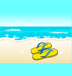 sandals on beach vector image