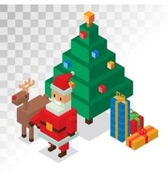 Santa claus gift box deer tree sometric 3d vector