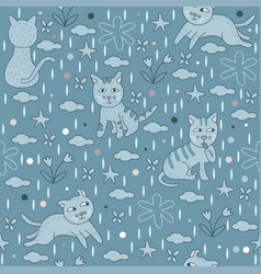 Seamless pattern blue cats wallpaper background vector