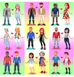 set of homosexual and x9heterosexual couples vector image