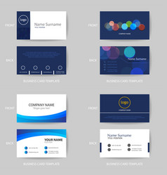 set of modern and clean blue business card design vector image vector image