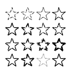 Star icons grunge texture set vector image vector image