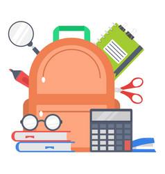 supplies school design flat style vector image vector image