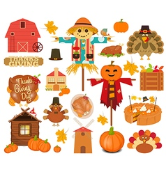 Thanksgiving set of turkey day objects vector