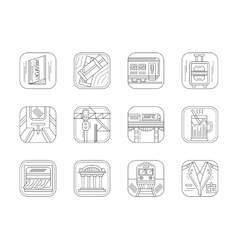 Train station and service flat line icons vector image vector image