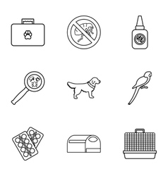 Treatment of animals icons set outline style vector