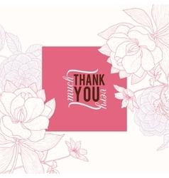 Vintage pink square frame floral drawing vector