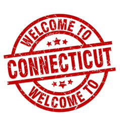 Welcome to connecticut red stamp vector