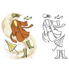 Woman autumn clothes vector image