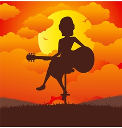 Woman playing guitar vector