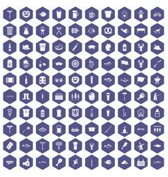 100 beer icons hexagon purple vector