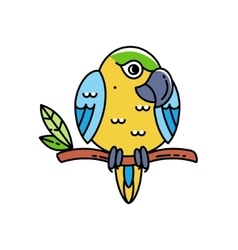 Cute colorful parrot isolated on white vector