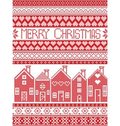 Merry christmas card with swedish houses vector