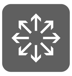 Radial arrows flat squared icon vector
