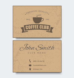 Coffee card template in retro style with texture vector