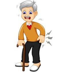 Cartoon old grandfather was lumbago vector