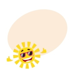 Smiling cheerful sun wearing sunglasses isolated vector image