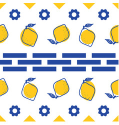 Blue and white lemon mediterranean seamless tile vector