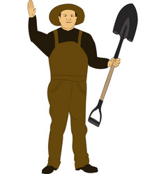 The man in overalls with a shovel vector