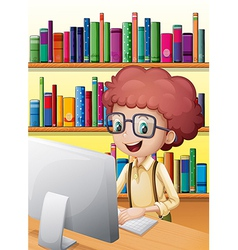 A smart boy in the library vector image