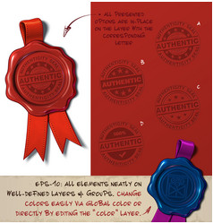 Wax seal - authenticity stamp vector